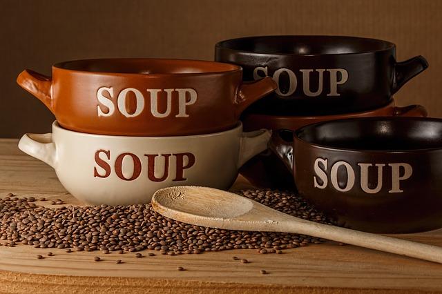 soup bowl, lentil soup, bowls